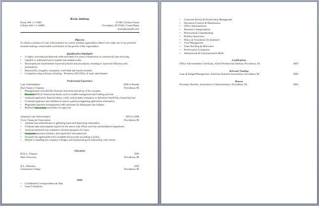 Loan Officer Resume