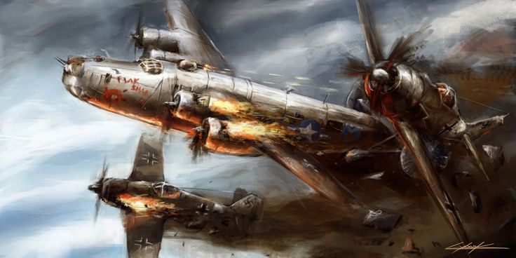 In deze afbeelding heeft de kunstenaar een luchtgevecht afgebeeld. In dit luchtgevecht vecht een Amerikaans vliegtuig tegen twee Duitse vliegtuigen. De kunstenaar heeft de ook door de zwarte rook het thema strijd afgebeeld, want zwart betekend dreiging, of dood. Dit schilderij is waarschijnlijk door een Amerikaan gemaakt, dat kan je zien omdat alle drie de vliegtuigen ten onder gaan. Maar hier wordt wel mee afgebeeld dat een Amerikaans vliegtuig in zijn eentje twee Duitse vliegtuigen aan…
