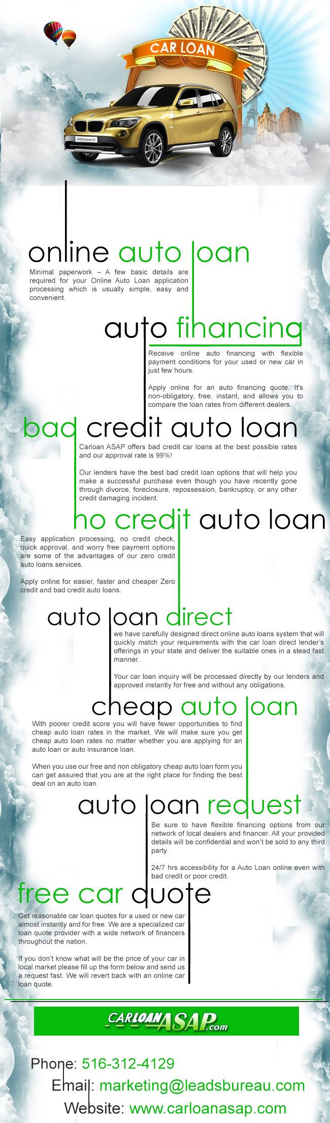 Get online car loan for new cars used cars or refinance with bad credit bankruptcy poor credit or no credit at carloanasap use auto loan calculator to
