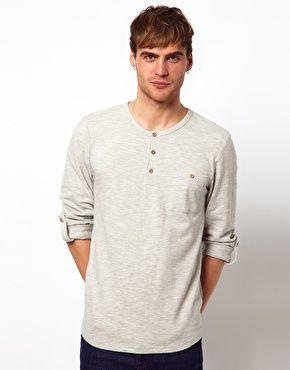 River Island Grandad Textured Long Sleeve T-Shirt $32.62