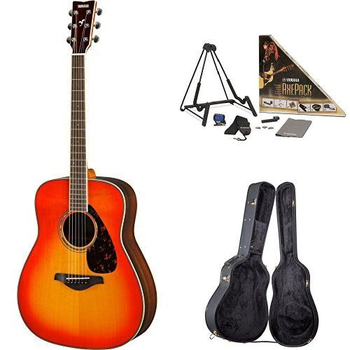 Yamaha FG830 Acoustic Guitar, Autumn Burst, with Yamaha Guitar Case and Accessories Pack. Yamaha FG830 Acoustic Guitar, Autumn Burst. Yamaha Axe Pack Guitar Accessory Kit for Electric & Acoustic Guitar. Yamaha AG1-HC Hardshell Dreadnought Acoustic Guitar Case.