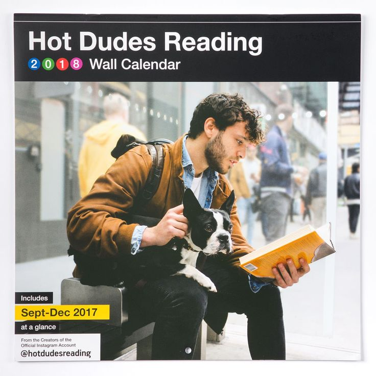 2018 Hot Dudes Reading Wall Calendar