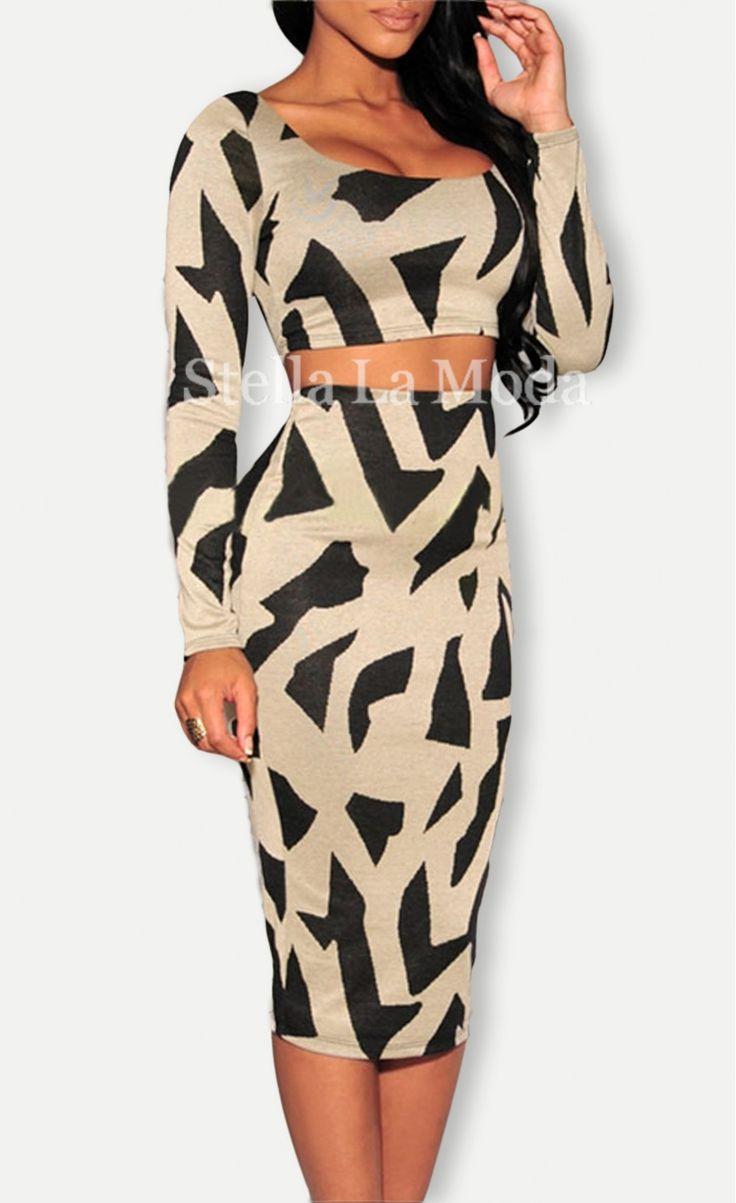$29.99 Taupe Print Two-piece Skirt Set - Stella La Moda