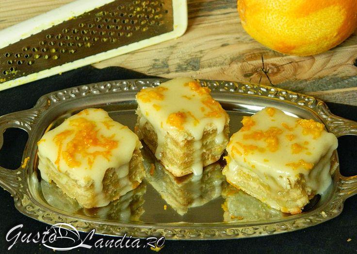Prajitura cu miere si crema de portocale