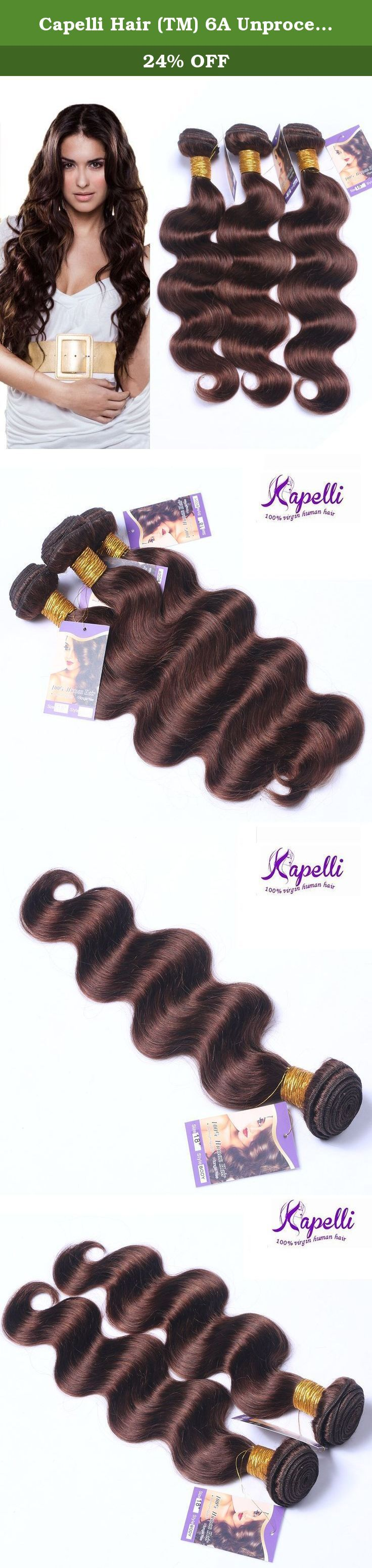 """Capelli Hair (TM) 6A Unprocessed Brazilian Body Wave 3 Bundles Brazilian Virgin Hair Human Hair Extensions Human Hair Weave(16"""" 18"""" 20""""). All of Capelli Hair is 100% human virgin hair. The hair is cut from the donor in one heavy ponytail, with the cuticle layers intact and all facing in the same direction so that the hair will not tangle. Every weft is with double layer for reinforced & minimum shedding. Hair Extension Type: Brazilian Body Wave Hair Quality: No Chemical No Shedding Tangle..."""