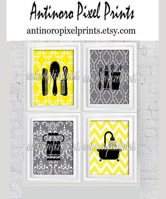 Yellow Grey Bathroom Digital  Wall Art Collection Combs, Towel, Bath Tub -Set of (4) - 8x10 Prints. (Unframed)