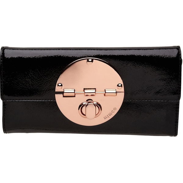 Mimco Large Turnlock Wallet in Patent Black with Rose Gold hardware. My next wallet when my Oroton one dies.
