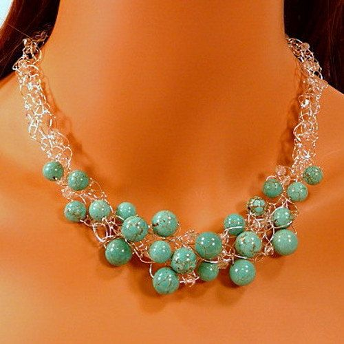 Necklace Earrings Set turquoise wire crochet silver by JewelrySong, $49.00
