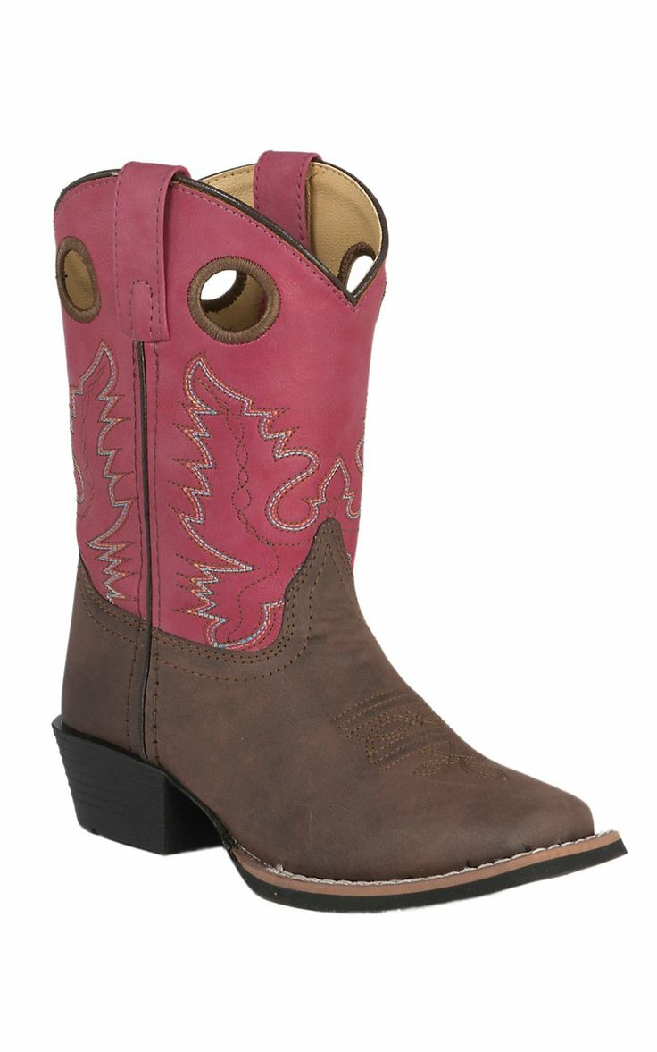 Smoky Mountain Kids Memphis Dark Brown with Pink Top Square Toe Western  Boots