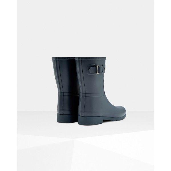 Hunter Women's Original Refined Short Rain Boots Navy - Hunter Boots #rainday #hunter #hunterboots #ss17