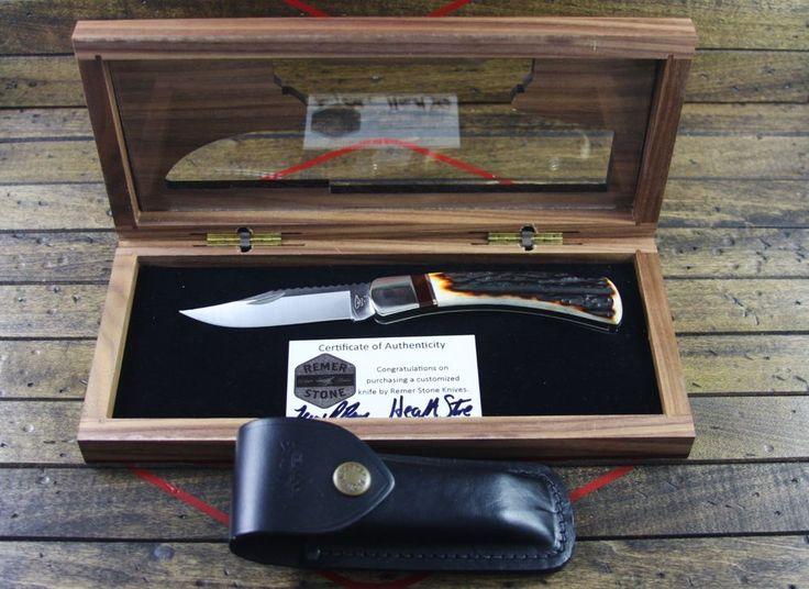 Custom Buck Knife 110 Folding Hunter Amber Stag  By: Remer Stone Knives #Buck