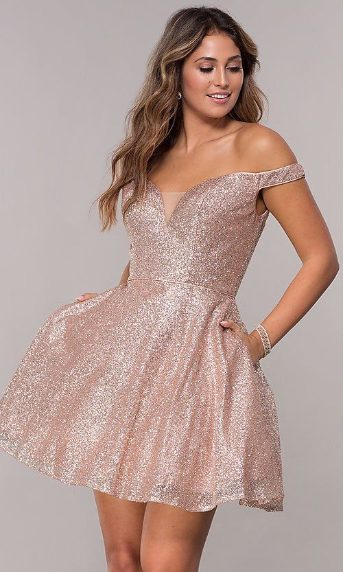 39e1713b21a2 Image of short homecoming off-the-shoulder glitter dress. Style: FB-GS1626  Front Image