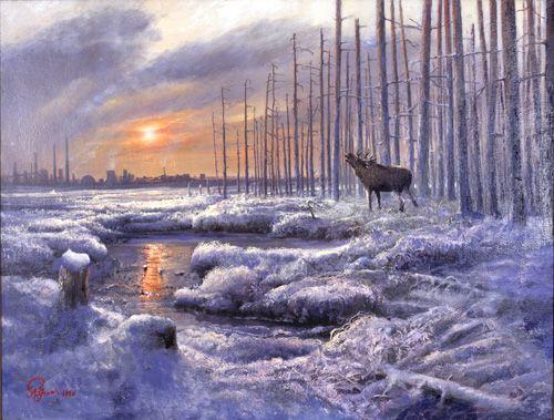 Rolf Groven  Elg i solnedgang  1996