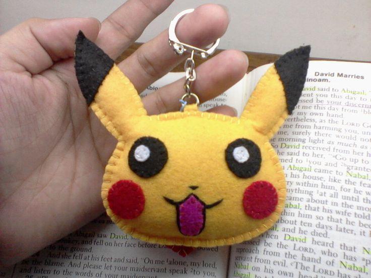 Pikachu Felt Plushie/Keychain :)) by JerahmieTricia.deviantart.com on @DeviantArt