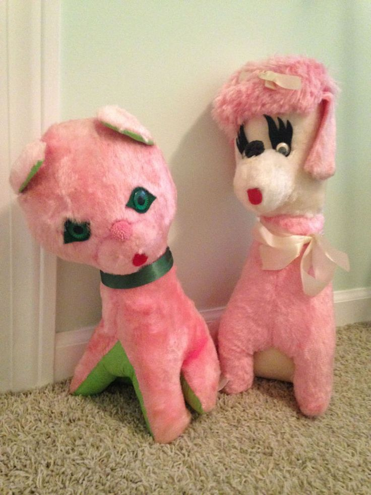 """Carnival Toy Box Pink: Vintage Antique Carnival Pink Stuffed 13"""" Cat And 16"""