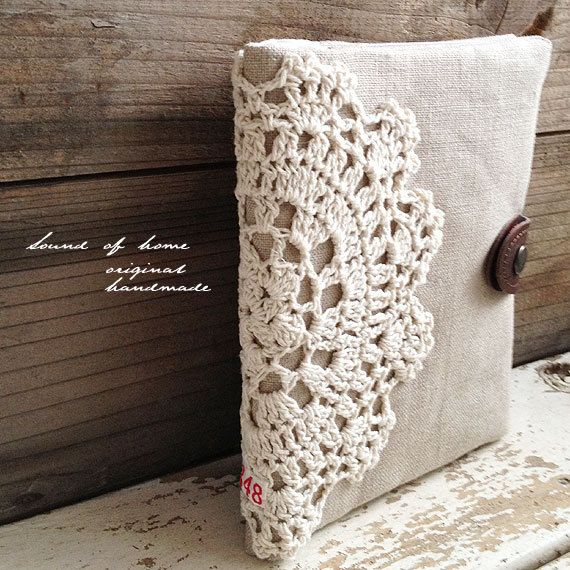 Crochet doily  linen card holder case 2 way pouch shabby chic mori girl handmade zakka