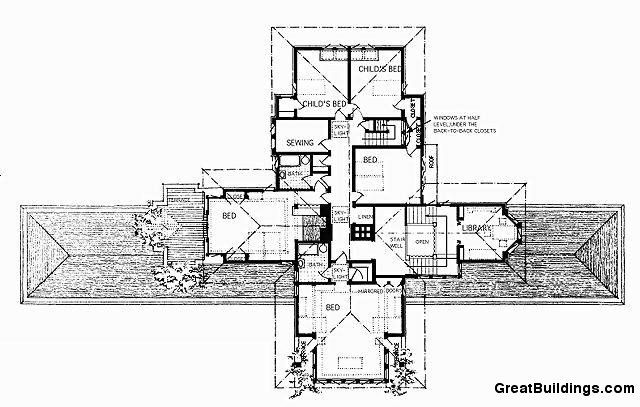 Ward willits house frank lloyd wright upper level for Zimmerman house floor plan