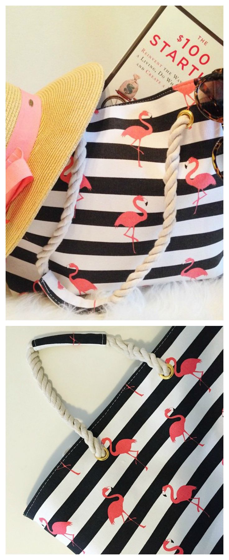 Pink Flamingo canvas tote bag for whatever needs haulin'. @petiteetoilcreative @lipglossandcrayons