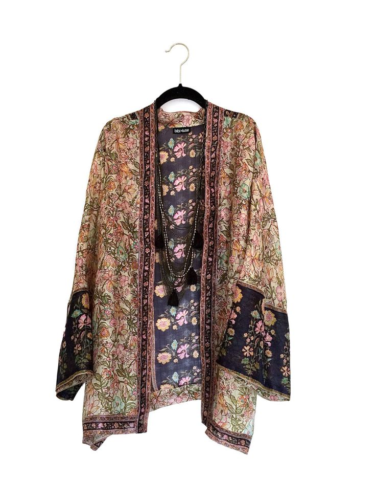 Silk Kimono Jacket Beige And Navy Vintage Floral Border