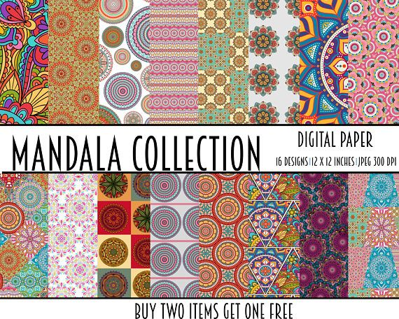 16 commercial use digital paper papers mandala indian