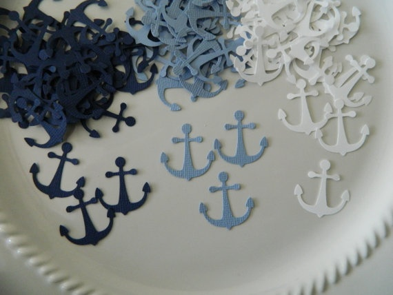 anchor confetti for the tables?!  party colors: navy, carolina blue, and white with yellow accents??