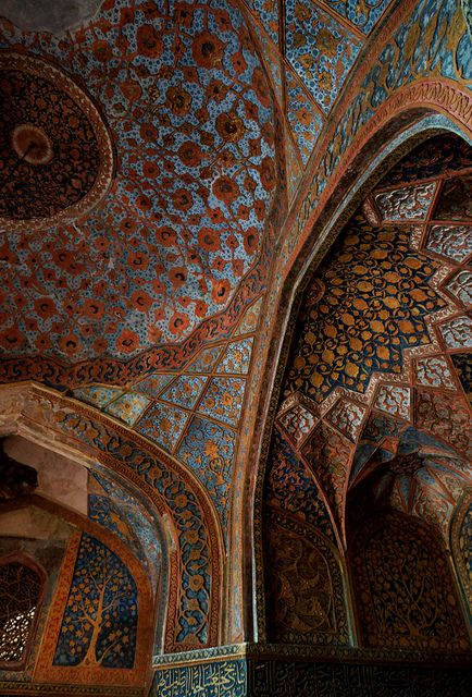 The painted ceiling of Akbar's Tomb, Taj Mahal, Agra. by Howard Somerville, via Flickr - Explore the World, one Country at a Time. http://TravelNerdNici.com