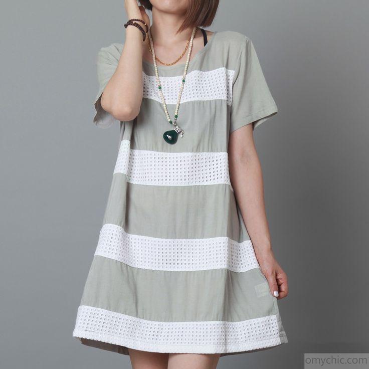 Grey casual striped shift sundress plus size summer linen dress