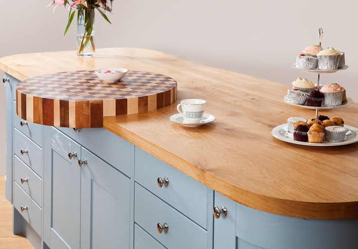 worktops in a Joseph & Kingsley kitchen In this case, Lulworth Blue
