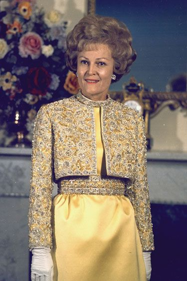 Patricia Nixon - 1969 Karen Stark for Harvey Berin double-faced satin gown and matching embroidered cropped jacket.