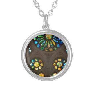 Church Cathedral Christ Wall Stained Glass Deco 99 Round Pendant Necklace