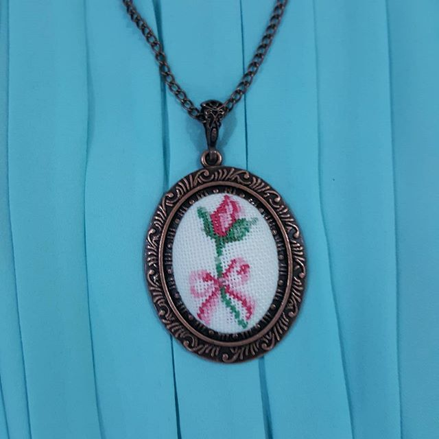 my new rose cross stitch necklace