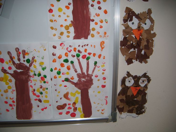 autum scene using hand prints and thumbs, cute owls using dif textured and shaded pieces of torn paper