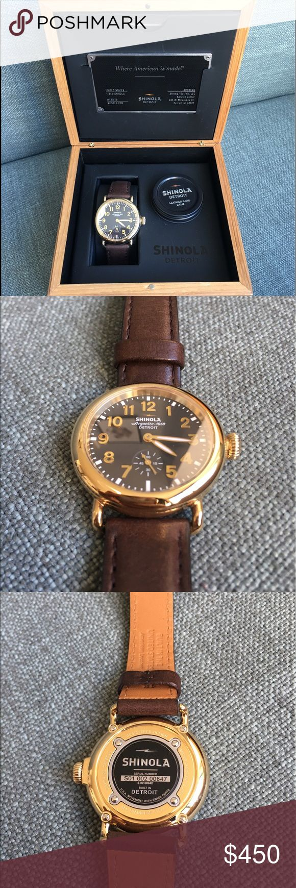 Shinola Runwell Women's Brown 36mm Brand new in box. Brown face, brown leather band, gold hardware. Comes with everything you see in the pictures. No fakes! I accept fair offers :) Shinola Accessories Watches