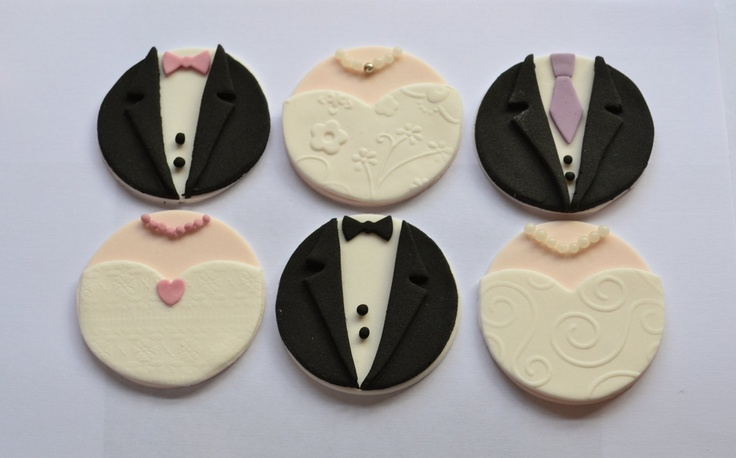 Bride & Groom Fondant Cupcake Toppers for Wedding Cakes/Hen Party Cupcakes. £8.99, via Etsy.