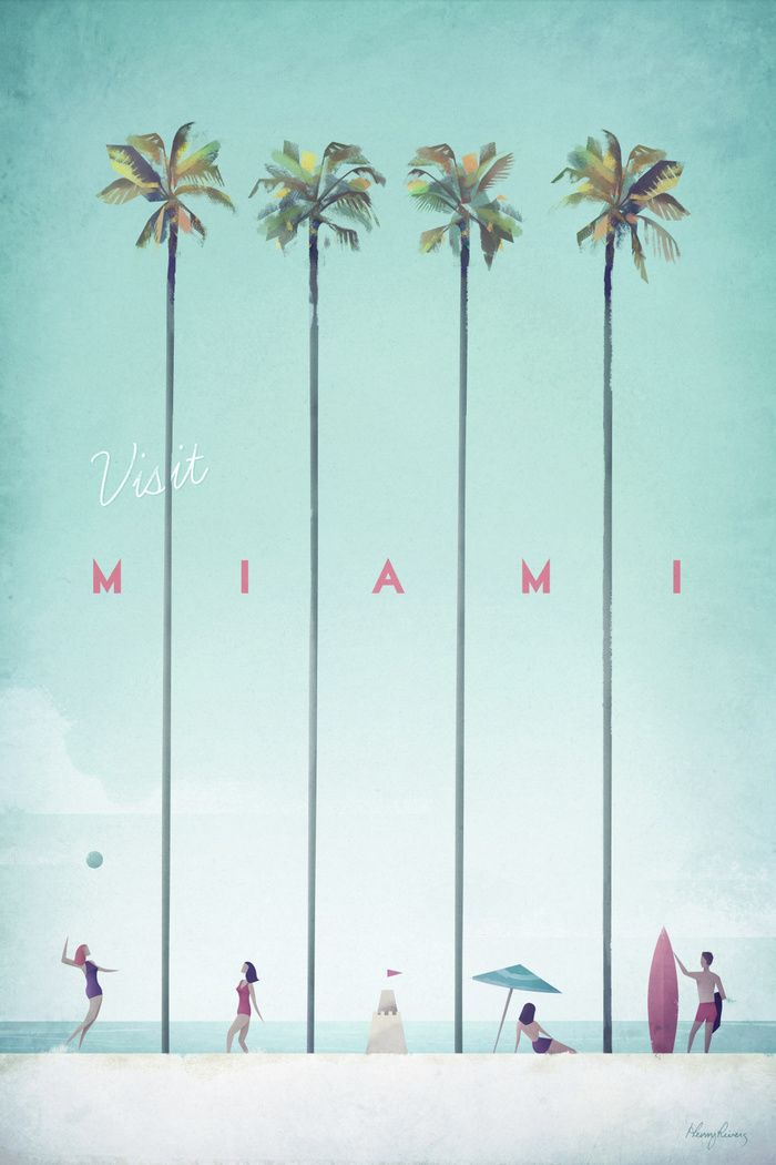 Vintage style travel poster of Miami. Text reads Visit Miami. Original hand drawn and digitally rendered illustration by Henry Rivers of Travel Poster Co.