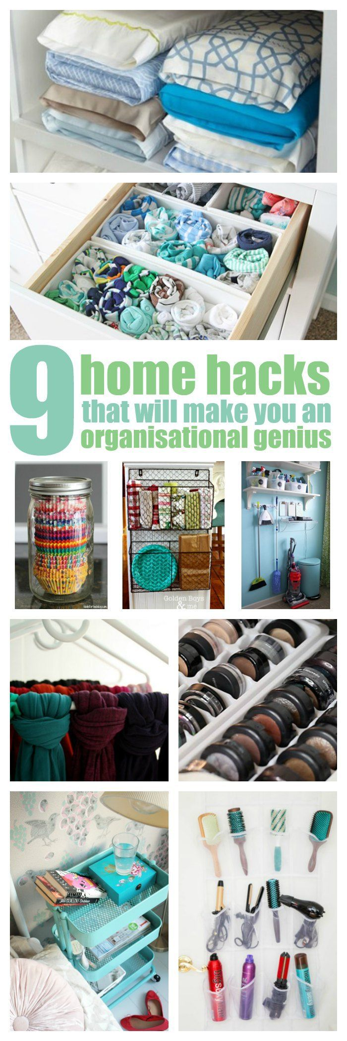 These 9 home hacks that'll made you an organisation genius are AWESOME! I'm so happy I found these CLEVER tips! Now I can have a cute and organised house! Definitely repinning for later and you should, too!
