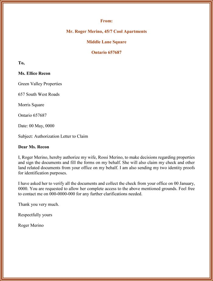 authorization letter sample for claiming