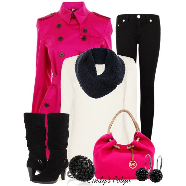Winter Outfit: Pink Coats, Fashion Ideas, Black Outfits, Pretty In Pink, Fashionista Trends, Hot Pink, Winter Outfits, Colors Coats, Colors Clothing