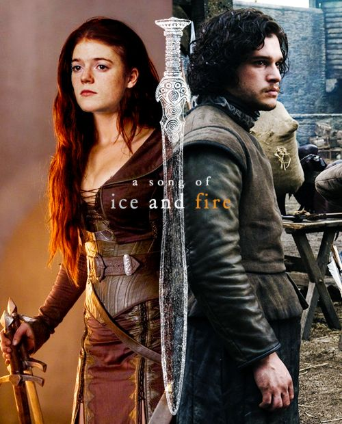 Ygritte and Jon Snow ~ Game of Thrones Fan Art. This is lovely! Wish they were the true ice and fire but alas.....SPOILERS!
