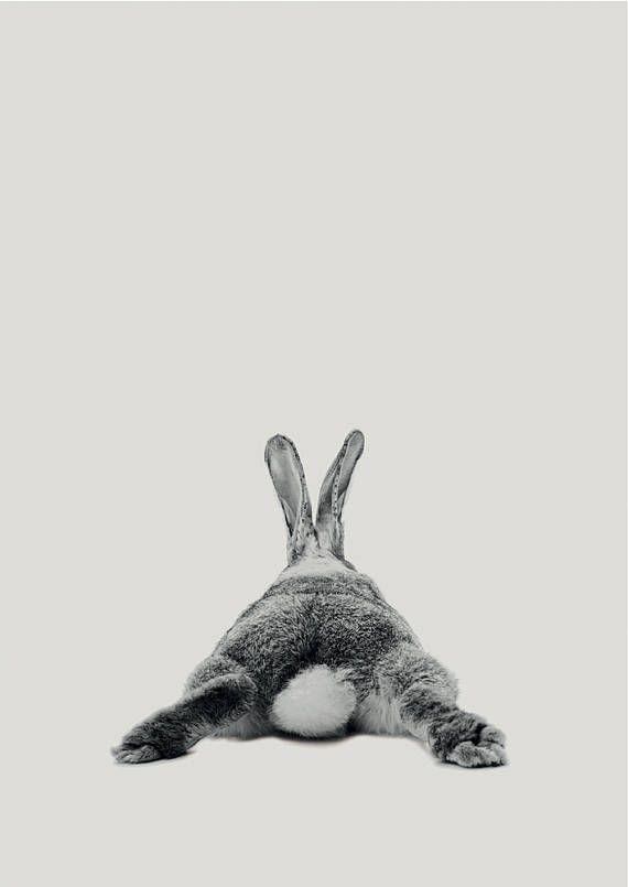 Rabbit Print, Woodland Nursery Art, Rabbit Wall Decor, Black and White Baby Animal Print, Black and White Bunny Printable, Digital Download