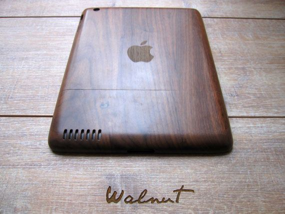 Unique Christmas Gift - Ipad 2 case - wooden cases walnut or bamboo wood - Apple logo