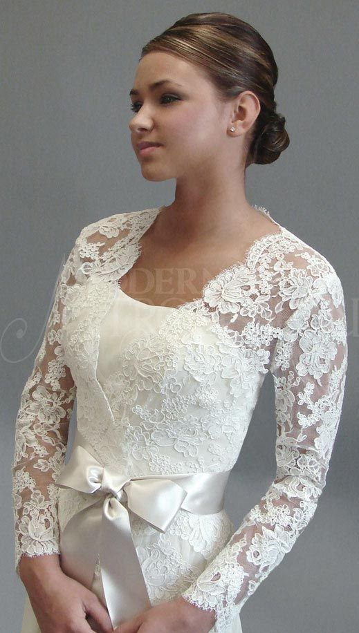 18 best wedding jackets images on pinterest homecoming for Lace jackets for wedding dresses