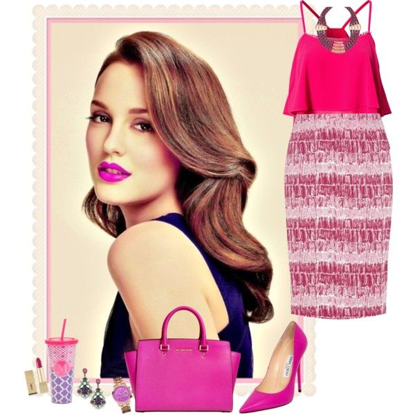 Fuchsia outfit by guemara on Polyvore featuring Style London, Nougat, Jimmy Choo, MICHAEL Michael Kors, ALDO, GUESS, Mercantia, Yves Saint Laurent, outfit and fuchsia
