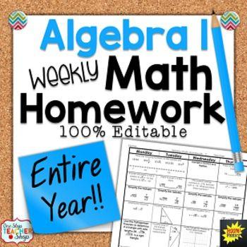 Algebra 1 20 day homework clipart