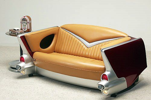 1957 Chevy car couch.....how cool, love to have it in my pool room...