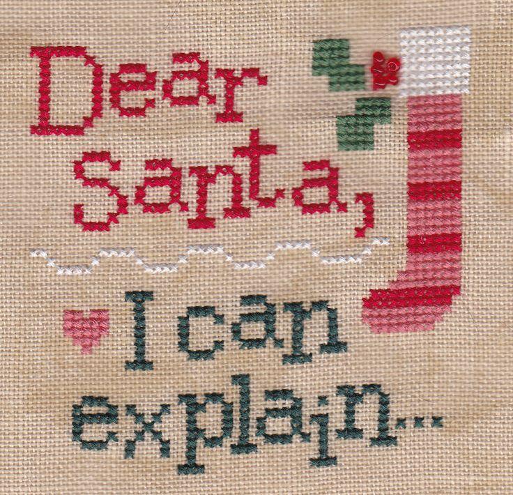 """Dear Santa, I can explain..."" cross stitch by Lizzie Kate"