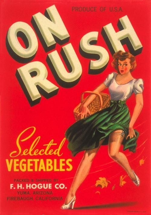 Vegetable vintage advert. On rusch