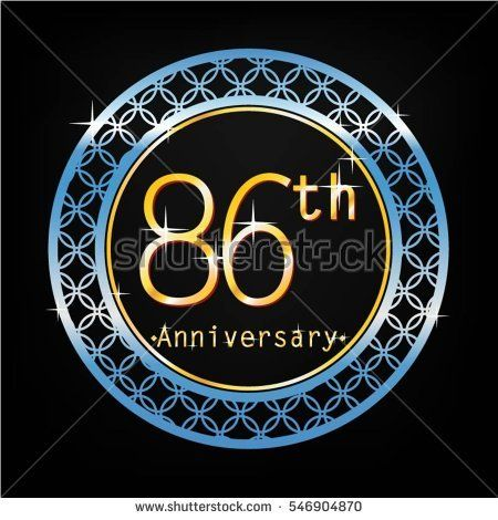 black background and blue circle 86th anniversary for business and various event