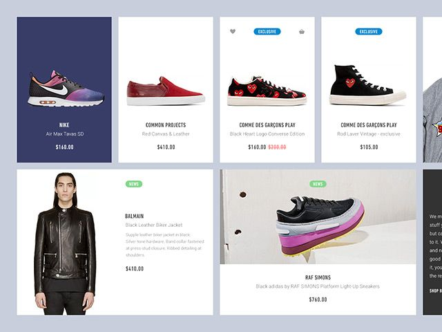 A small ecommerce UI kit made of clean and modern widget-style blocks. Free PSD created and released by Orthonormai.