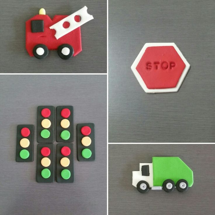 Garbage truck cupcake toppers, Fire Truck Toppers and Traffic toppers